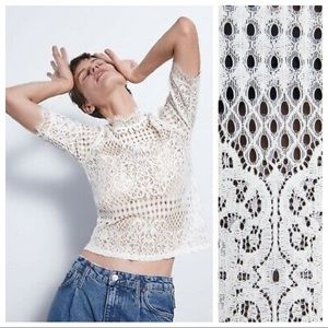 NWT Zara short sleeve lace top